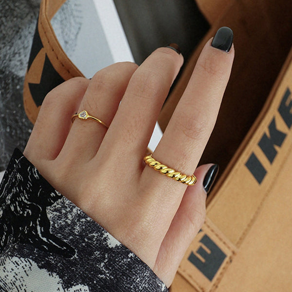 Gold Twisted Ring - Bizoux Sterling