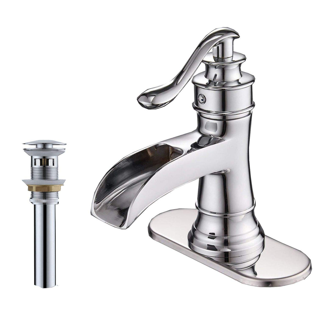 BWE A-96556 Single Handle Bathroom Faucet (Full Kit, Tall/Short)
