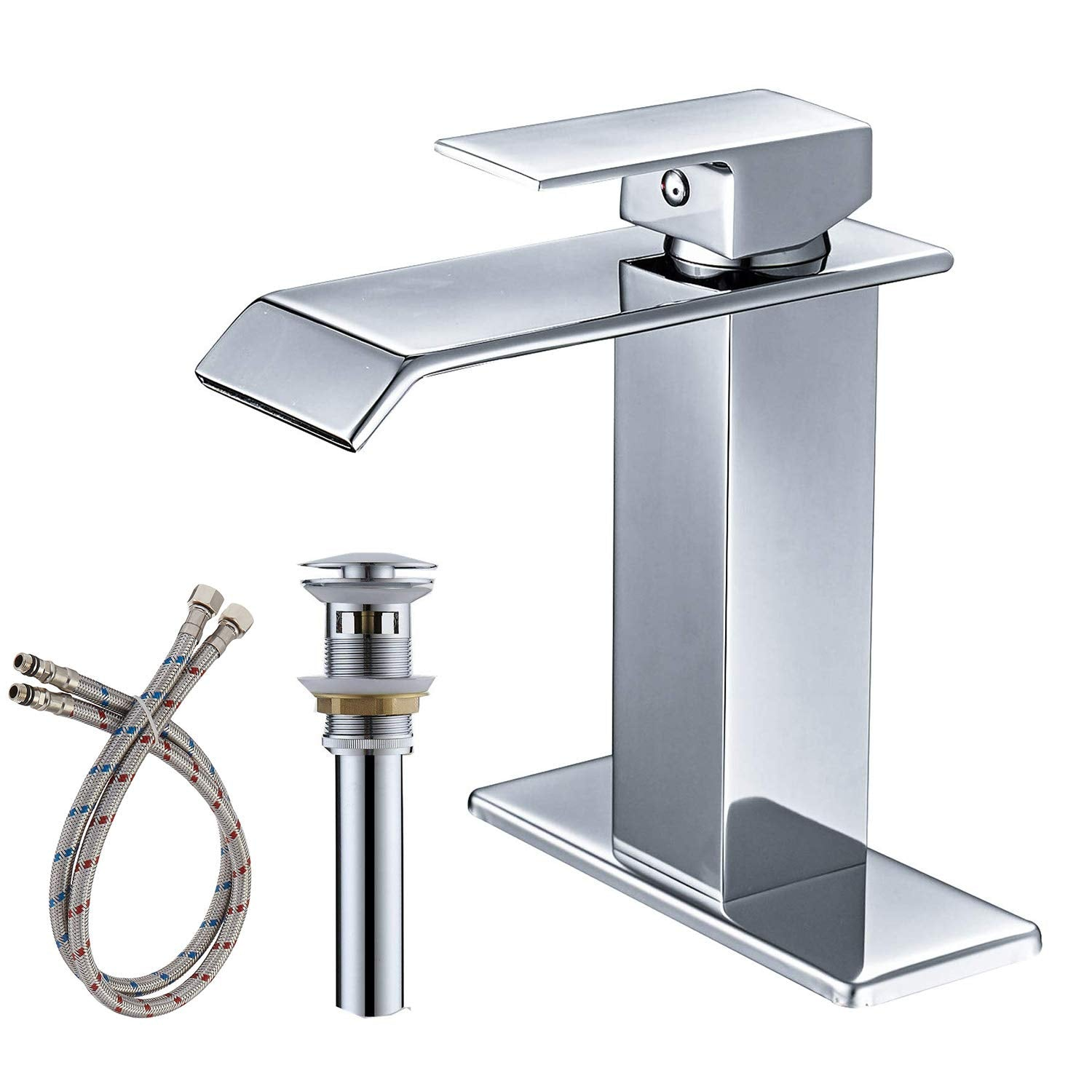 BWE A-96004 Single Handle Flat spout Waterfall Effect Bathroom Faucet (Full Kit)