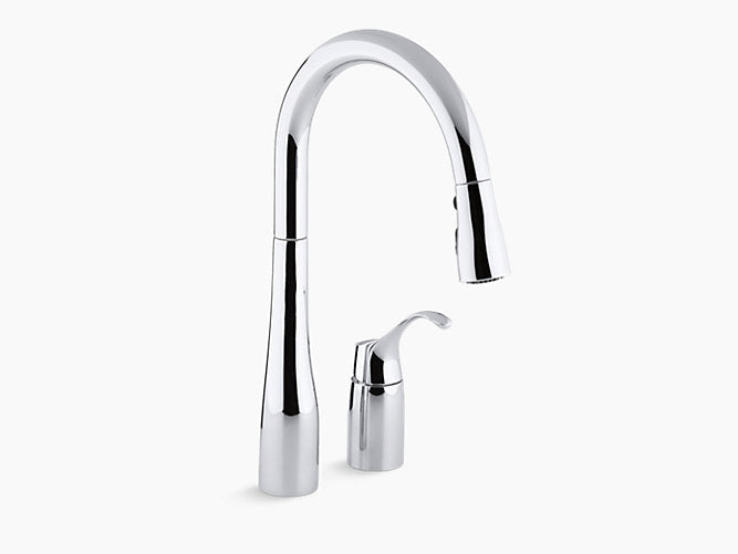 "Simplice®two-hole kitchen sink faucet with 16-1/8"" pull-down swing spout, DockNetik® magnetic docking system, and a 3-function sprayhead featuring Sweep™ spray"