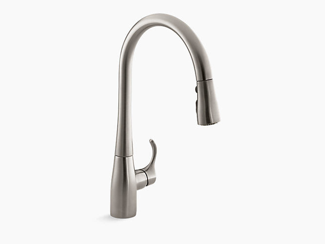 "Simplice® single-hole or three-hole kitchen sink faucet with 16-5/8"" pull-down spout, DockNetik® magnetic docking system, and a 3-function sprayhead featuring Sweep® spray"
