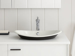 Iron Plains® Oval Wading Pool® Vessel bathroom sink with Iron Black painted underside