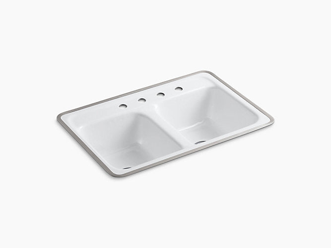 "Delafield®32"" x 21"" x 8-1/2"" tile-in/metal frame double-equal kitchen sink with 4 faucet holes"