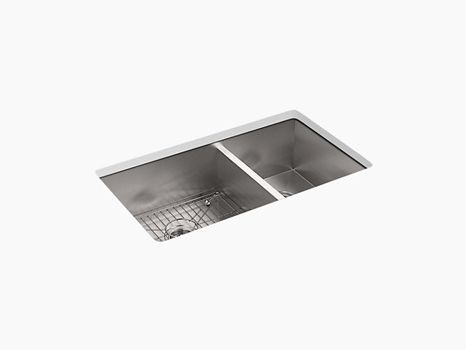 "Vault™33"" x 22"" x 9-5/16"" Top-mount/undermount double-bowl kitchen sink"