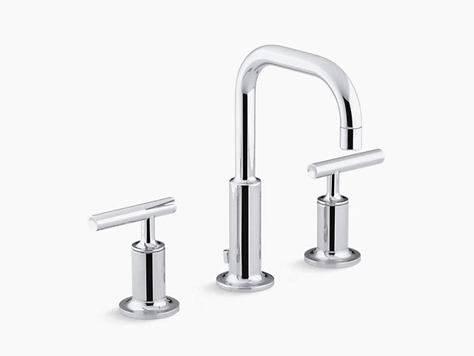 Purist® Widespread bathroom sink faucet with low lever handles and low gooseneck spout