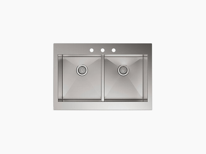 "Vault™ 35-3/4"" x 24-5/16"" x 9-5/16"" Self-Trimming® top-mount double-equal stainless steel sink for 36"" cabinet"