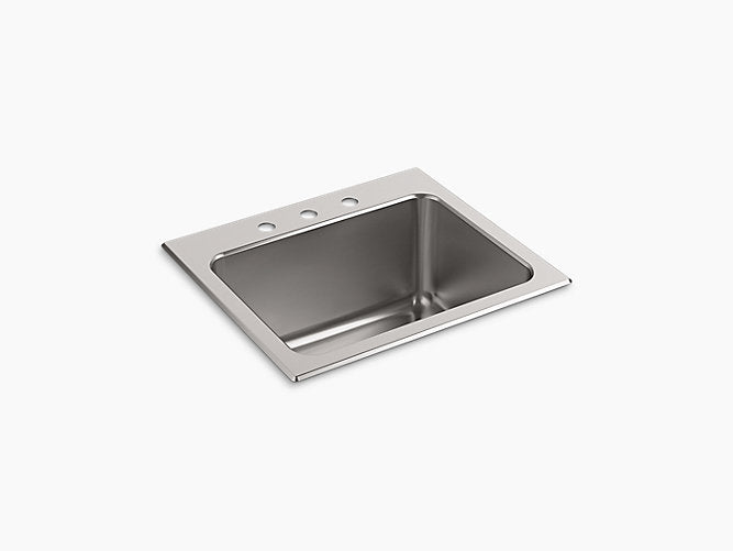 "Ballad™25"" x 22"" x 11-9/16"" top-mount utility sink with 3 faucet holes"