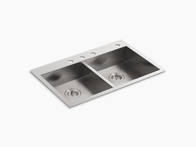 "Vault™33"" x 22"" x 6-5/16"" double-equal dual-mount kitchen sink with 4 faucet holes"