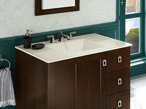 "Ceramic/Impressions® 37"" rectangular vanity-top bathroom sink with 8"" widespread faucet holes"