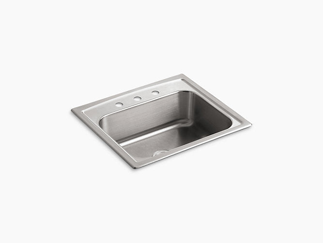 "Toccata™25"" x 22"" x 7-11/16"" top-mount single-bowl kitchen sink with 3 faucet holes"
