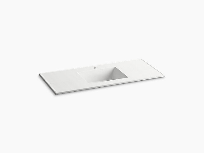 "Ceramic / Impressions® 49"" rectangular vanity-top bathroom sink with single faucet hole"