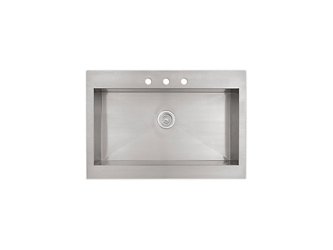 "Vault™35-3/4"" x 24-5/16"" x 9-5/16"" Self-Trimming® top-mount stainless steel kitchen sink for 36"" cabinet"