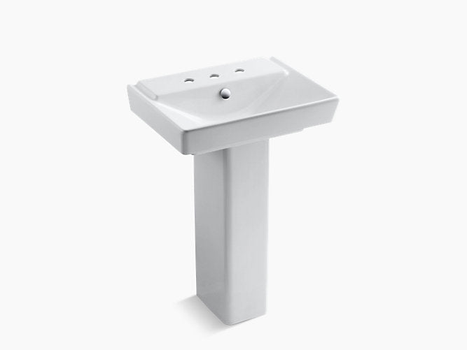 "Rêve® 23"" pedestal bathroom sink with 8"" widespread faucet holes"