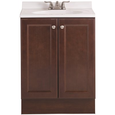 Glacier Bay Vanity Pro All-In-One 24 in. W Bathroom Vanity in Chestnut with Cultured Marble Vanity Top in White