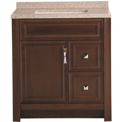 Glacier Bay Candlesby 31 in. W x 19 in. D Bathroom Vanity in Cognac with Solid Surface Vanity Top in Autumn with White Sink