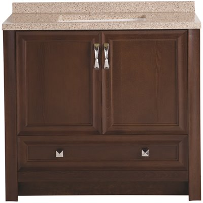 Glacier Bay Candlesby 37 in. W x 19 in. D Bathroom Vanity in Cognac with Solid Surface Vanity Top in Autumn with White Sink