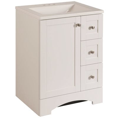 Glacier Bay Lancaster 24 in. W x 19 in. D Bathroom Vanity in White with Cultured Marble Vanity Top in White with White basin