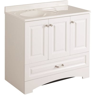 Glacier Bay Lancaster 36 in. W x 19 in. D Bathroom Vanity in White with Cultured Marble Vanity Top in White with White Basin