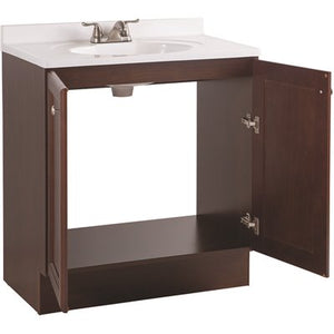 Glacier Bay Vanity Pro All-In-One 31 in. W , 18 in. D Bathroom Vanity in Chestnut with Cultured Marble Vanity Top in White