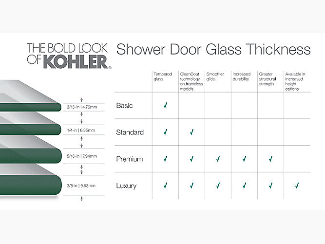 "Fluence® Sliding shower door, (76"" H) x (37 - 40"" W), with 1/4"" thick Crystal Clear glass"