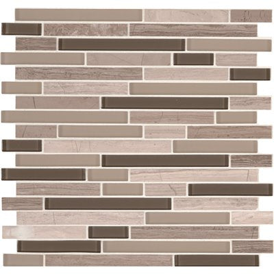 MSI Modello Grigio Interlocking 12 in. x 12 in. x 6mm Glass Stone Mesh-Mounted Mosaic Tile (15 sq. ft. / case)
