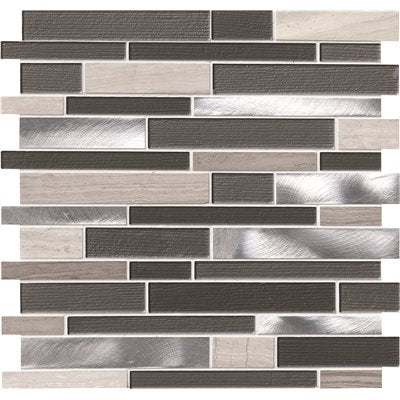 MSI Urban Loft Interlocking 12 in. x 12 in. x 4 mm Glass Stone and Metal Mesh-Mounted Mosaic Tile