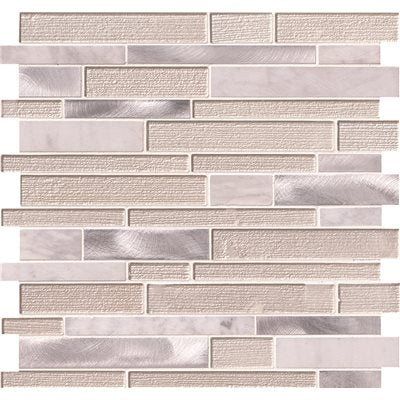 MSI White Wave Interlocking 12 in. x 12 in. x 4 mm Textured Glass Stone Metal Mesh-Mounted Mosaic Tile (20 sq. ft. / case)