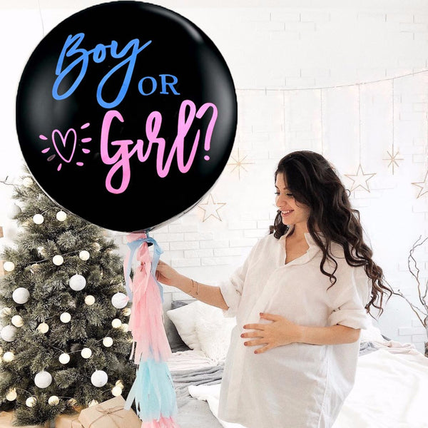 Gender Reveal Balloon with Pink&Blue Confetti