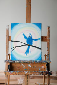 Meikle Studios | Painting on easel with white background.