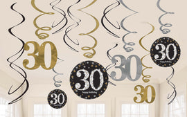 Sparkling Celebration 30th Birthday Value Pack Foil Swirl Decorations