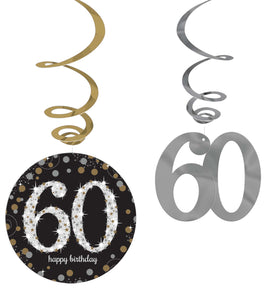 Sparkling Celebration 60th Birthday Value Pack Foil Swirl Decorations