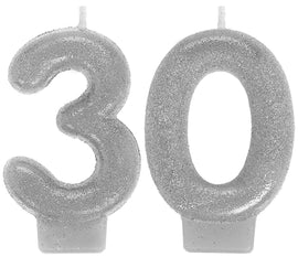 Sparkling Celebration 30th Birthday Numeral Candles