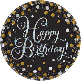 "Sparkling Celebration Round Prismatic Plates, 9"", Happy Birthday"
