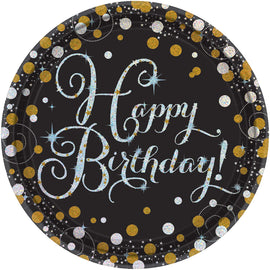 "Sparkling Celebration Round Prismatic Plates, 7"", Happy Birthday"