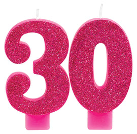 Pink and Gold Milestone 30 Numeral Candles