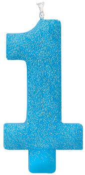 #1 Birthday Glitter Candle - Blue