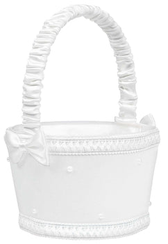 Basic Flower Basket - White with Faux Pearls