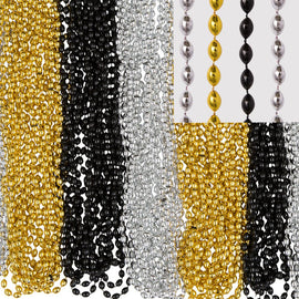 Bead Necklace - Black, Silver, Gold