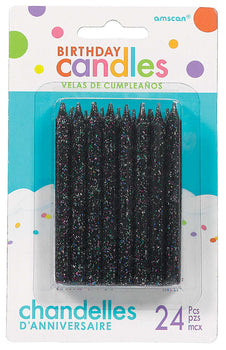 Large Glitter Spiral Candles - Black