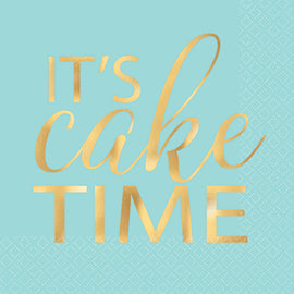"""It's Cake Time"" Beverage Napkin, Hot-Stamped"