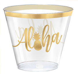 Aloha Hot-Stamped Plastic Tumblers, 9 oz.