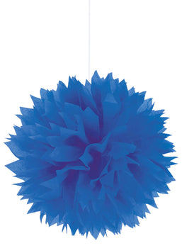 Bright Royal Blue Fluffy Paper Decorations, 3ct