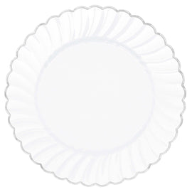 "7 ""Scalloped Plate W/ Metal Trim - White"