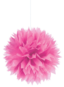 Bright Pink Fluffy Paper Decorations