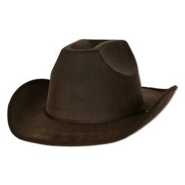 Faux Brown Leather Western Hat one size fits most