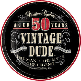 Vintage Dude 50Th Birthday Dessert Plates