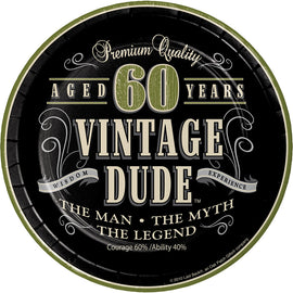 Vintage Dude 60Th Birthday Dessert Plates