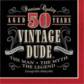 Vintage Dude 50Th Birthday Napkins
