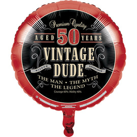 Vintage Dude 50Th Birthday Mylar Balloon