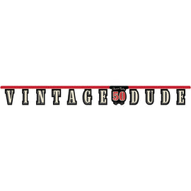 Vintage Dude 50Th Birthday Banner